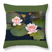 Two Water Lillies Throw Pillow