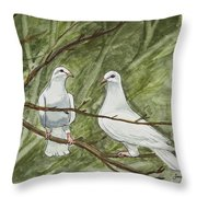 Two White Doves Throw Pillow