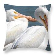 Two White Pelicans Throw Pillow