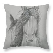 Two Wild Horses Throw Pillow