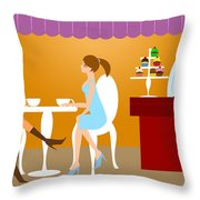 Two Woman Friends Having Coffee Throw Pillow
