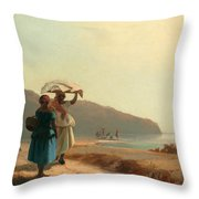 Two Women Chatting By The Sea. St Thomas Throw Pillow