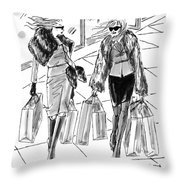 Two Women Dressed Nicely Walk Together Carrying Throw Pillow