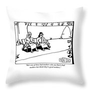 Two Women In Conversation Sit On A Bench Together Throw Pillow