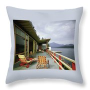 Two Women On The Deck Of A House On A Lake Throw Pillow