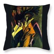 Two Women On The Street Throw Pillow