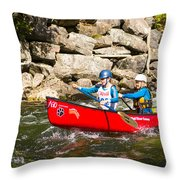 Two Women Paddling A Whitewater Canoe Throw Pillow