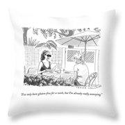 Two Women Speak At A Cafe Speak Throw Pillow