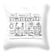 Two Women Stand At A Table In A Cafe Throw Pillow