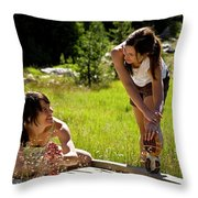 Two Women Stretch Prior To Running Throw Pillow