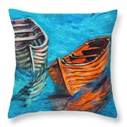 Two Wood Boats Throw Pillow by Xueling Zou