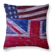 Two Wooden Flags Throw Pillow by Garry Gay