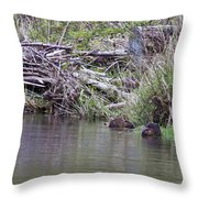 Two Working Beavers Throw Pillow