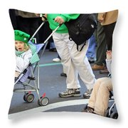 Two Young Girls Marching In The 2009 New York St. Patrick Day Parade Throw Pillow