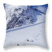 Two Young Men Skiing Untracked Powder Throw Pillow