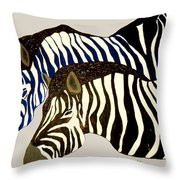 Two Zebras Throw Pillow
