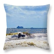 Tybee Island Kite Surfing Throw Pillow