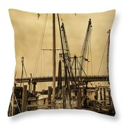 Tybee Island Shrimp Boats Throw Pillow