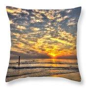 Calm Seas And A Tybee Island Sunrise Throw Pillow
