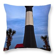 Tybee Light And Palms Throw Pillow