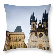 Tyn Church In Prague Throw Pillow