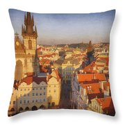 Tyn Church Old Town Square Throw Pillow