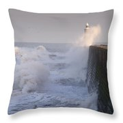 Tynemouth North Pier And Waves Throw Pillow