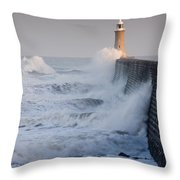 Tynemouth North Pier With Waves Throw Pillow