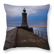 Tynemouth Pier Lighthouse Throw Pillow
