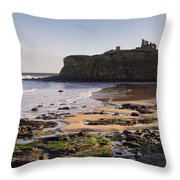 Tynemouth Priory And Castle Across King Edwards Bay Throw Pillow