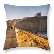 Tynemouth Priory And Castle From North Pier Throw Pillow