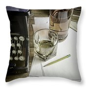 Typewriter And Whiskey Throw Pillow