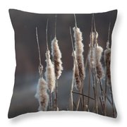 Typha Cattail Spikes Seeds Throw Pillow