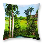 Typical Country Cuban Landscape Throw Pillow