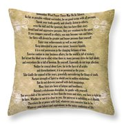 Typography Art Desiderata Poem On Watercolor Throw Pillow