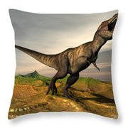 Tyrannosaurus Rex Dinosaur Walking Throw Pillow