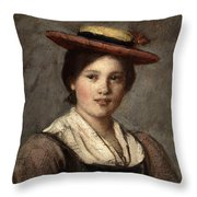 Tyrolean Dirndl With Straw Hat Throw Pillow