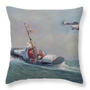 U. S. Coast Guard 44ft Motor Lifeboat And Tilt-motor Aircraft  Throw Pillow