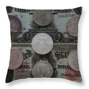 U S History Of Silver Dollars Throw Pillow