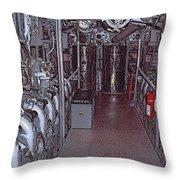 U S S Bowfin Submarine Engine Room Throw Pillow
