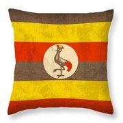Uganda Flag Vintage Distressed Finish Throw Pillow