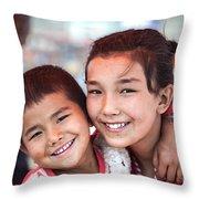 Uighur Children At Kashgar Market Xinjiang China Throw Pillow