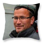 Uighur Man In Traditional Cap Smiles Throw Pillow