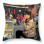 Uighur Street Side Bread Vendor Smokes Shanghai China Throw Pillow
