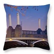 Uk, England, View Of Battersea Power Throw Pillow