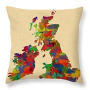 Uk Watercolor Map Throw Pillow
