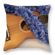 Ukulele And Blue Ribbon Lei Throw Pillow