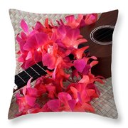 Ukulele And Red Lei Throw Pillow