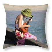 Ukulele Lady At Hanalei Bay Throw Pillow