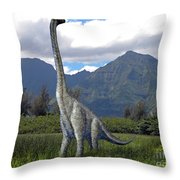 Ultrasaurus In Meadow Throw Pillow